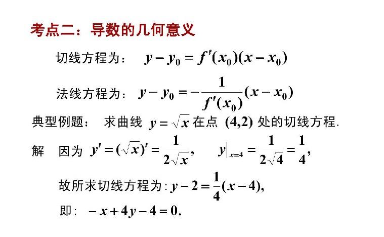 2020年江苏成人高考专升本高数(二)必备知识:导数的几何意义